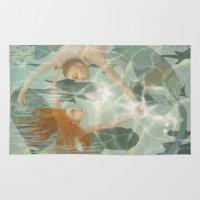 little mermaid Area & Throw Rugs featuring Little Mermaid by Fizzyjinks