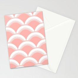Japanese Fan Pattern Peach Stationery Cards