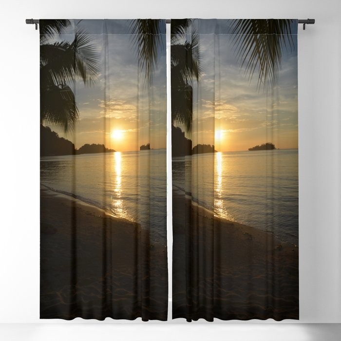 Sunset by the Caribbean beach 001 Blackout Curtain