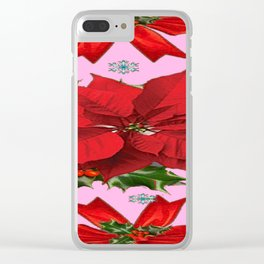 POINSETTIA SNOWFLAKES HOLLY HOLIDAY PINK DESIGN Clear iPhone Case