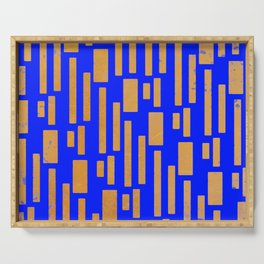 Abstract Bamboo Blue Gold Mid-Century Serving Tray