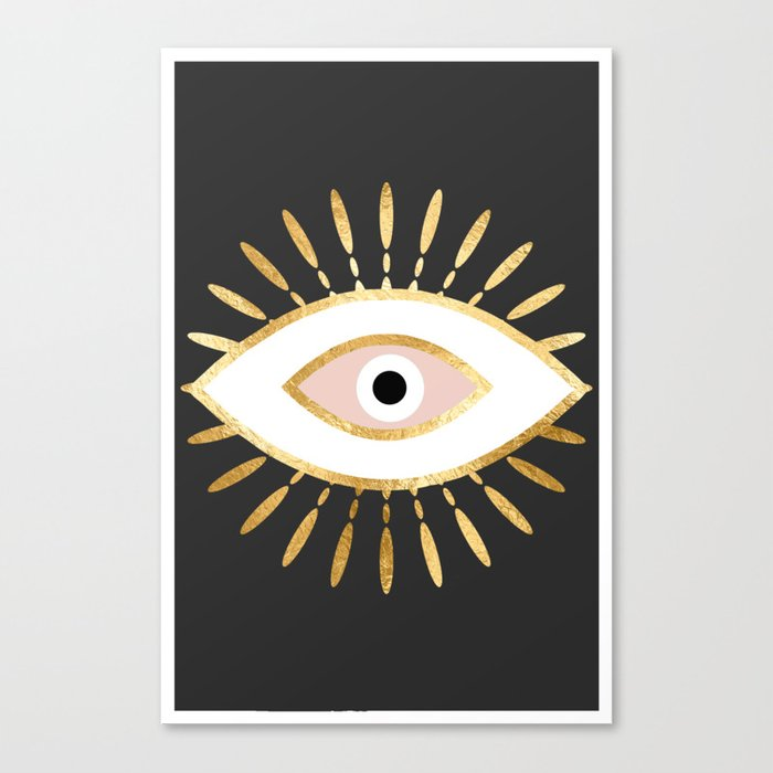 gold foil evil eye in blush Leinwanddruck