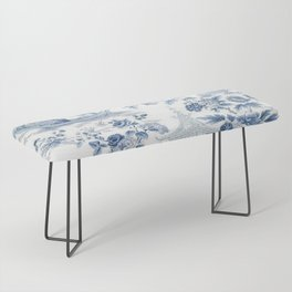 Powder Blue Chinoiserie Toile Bench