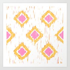Simple, Painterly Ikat With Pink, Light and Dark Orange Art Print