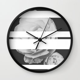 White Stipe Roses Wall Clock