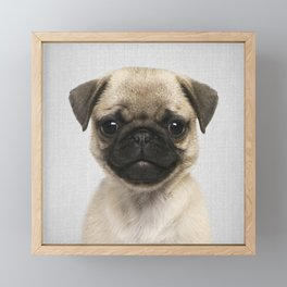 Pug Puppy - Colorful Framed Mini Art Print