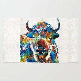 Colorful Buffalo Art - Sacred - By Sharon Cummings Rug