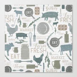 Modern Farmhouse // Gather Round & Give Thanks Canvas Print