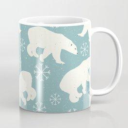 Polar Bears and Snowflakes - blue Coffee Mug