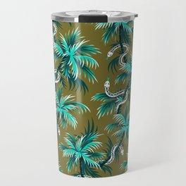 Snake Palms - Light Teal Mustard Travel Mug