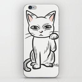 White funny cat iPhone Skin