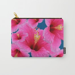 TEAL MODERN ART GIRLY PINK HIBISCUS Carry-All Pouch