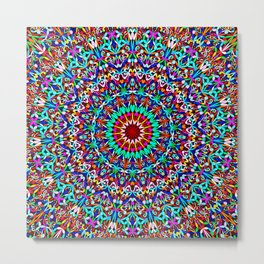 Colorful Life Garden Mandala Metal Print