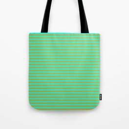 Aqua and Goldenrod Colored Stripes Pattern Tote Bag