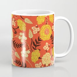 Vibrant Orange, Yellow & Brown Floral Pattern w/ Retro Colors Coffee Mug
