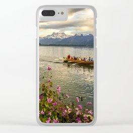 Lake Geneva and Alps, Montreux, Switzerland Clear iPhone Case