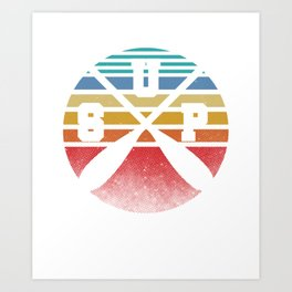 Retro SUP Stand Up Paddler Paddle Boat Boating Canoeing Water Sports Art Print