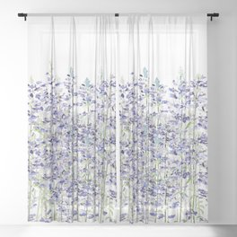 purple blue mealycup sage flowers watercolor   Sheer Curtain