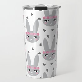 Pink bunny geometric triangles pattern cute girls print for nursery of baby decor Travel Mug