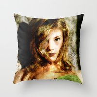thrones Throw Pillows featuring Portrait of Natalie Dormer (tutors / game of thrones) by André Joseph Martin