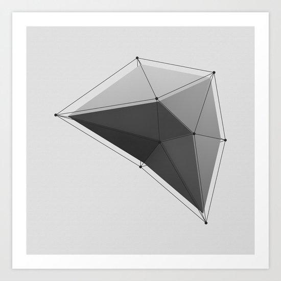 White Polygon Art Print