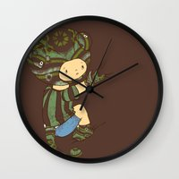 charlie Wall Clocks featuring Charlie by Rachel Isaacs