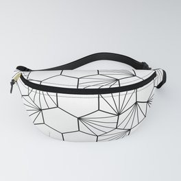Peacock comb black white geometric pattern Fanny Pack