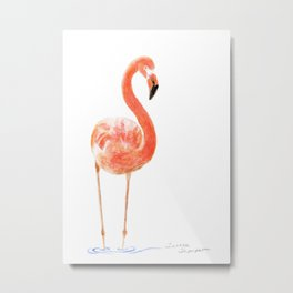 """Just Peachy"" - 5"" x 7"" acrylic painting of a Flamingo by Teresa Thompson Metal Print"