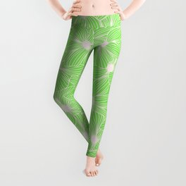 02 White Flowers on Green Leggings