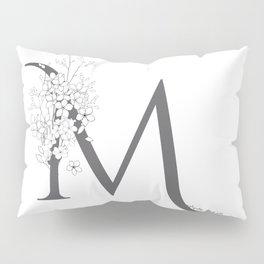 Monogram Letter M Floral Pillow Sham