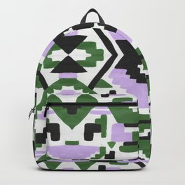 Geometric Aztec - Lilac and Forest Green Backpack