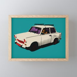 Trabant white pop Framed Mini Art Print