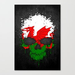 Flag of Wales on a Chaotic Splatter Skull Canvas Print