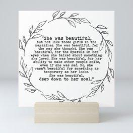 """""""She was beautiful"""" quote from F. Scott Fitzgerald Mini Art Print"""