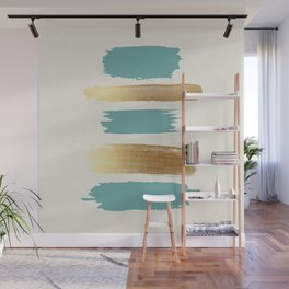 Brush Strokes (Teal/Gold) Wall Mural