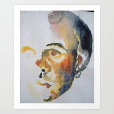 Self-Portrait in Watercolor Art Print