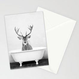 Male Deer in a Vintage Bathtub (bw) Stationery Cards
