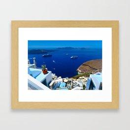 Santorini Caldera Framed Art Print