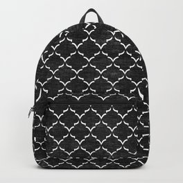 Black and white Moroccan tile pattern Backpack