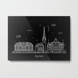 Zurich Minimal Nightscape / Skyline Drawing Metal Print