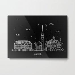 Zurich Minimal Nightscape / Skyline Drawing Metal Print