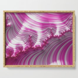 Fractal Art-Pink Striped Candy Serving Tray