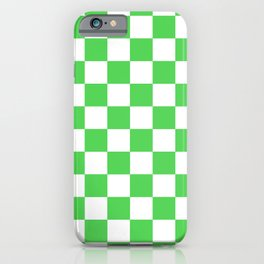 Checkered (Green & White Pattern) iPhone Case