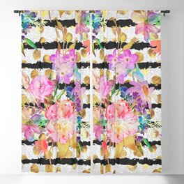 Elegant spring flowers and stripes design Blackout Curtain