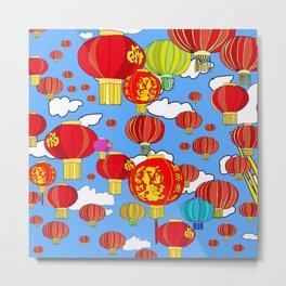 Red Sky Lanterns Metal Print