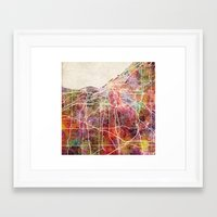 cleveland Framed Art Prints featuring Cleveland by MapMapMaps.Watercolors