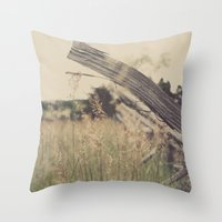 battlefield Throw Pillows featuring Battlefield Fence by Sam Wesselhoft