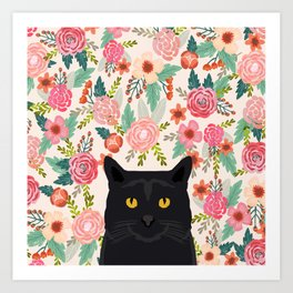 Black Cat cat breed floral pattern background pet gifts cats kitten mom gifts Art Print