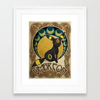 umbreon Framed Art Prints featuring Umbreon by Yamilett Pimentel