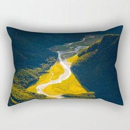 Secret Hidden Mountain Valley Aerial View Of Green Mountain Landscape Morning Sunlight Rectangular Pillow